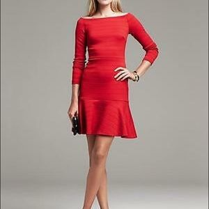 Banana Republic Red Seamed Fit-And-Flare Dress.